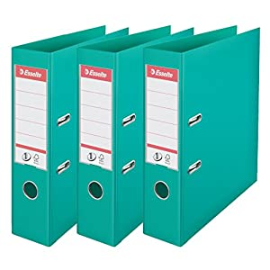 Esselte N°1 Set of 3 Power Lever Arch Files Back 75 mm turquoise