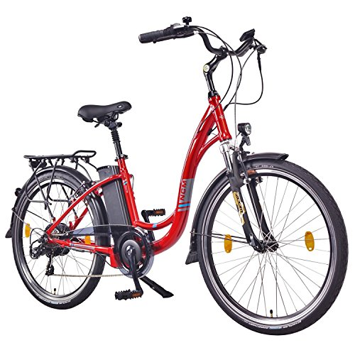 NCM Rome,26″ Zoll Elektrofahrrad Herren/Damen Unisex Pedelec,E-Bike,City Rad, 36V 250W 13Ah Lithium-Ionen-Akku mit 468Wh, rot metallic