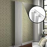 Milano Java - White Vertical Round Tube Designer Radiator 1600mm x 354mm - Vertical Tube Luxury Central Heating Radiators -Fixing Brackets included - 15 YEAR GUARANTEE!