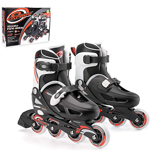 Osprey Inline Skates für Jungen und Mädchen - größenverstellbare Roller Blades - ideal für Anfänger - verschiedene Größen - Rollschuhe aus hochwertigen Materialien - in Schwarz/Weiß/Rot