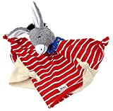 Käthe Kruse Schmusetuch Esel, grau, rot-weiß, Schnuffeltuch