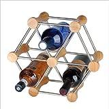 Linex Botellero de Acero Inoxidable para 6 Botellas de Vino (Madera + Plata)