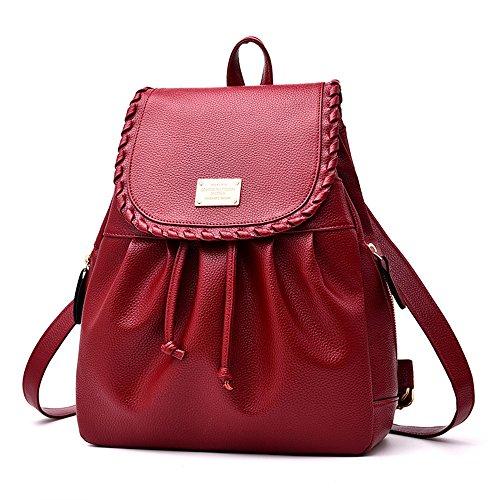 RFVBNM Rucksack Damen Tasche weibliche Tasche Freizeit wasserdichte PU Leder schwarz Rucksack Lady Tasche Mädchen Tasche Reise Rucksack Student Rucksack Camping und Einkaufstasche, schwarz Rotwein Rot