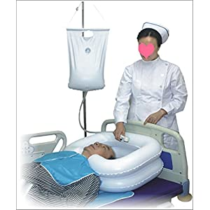 douperltd aufblasbares Haarwaschbecken-Set für die Behinderte/Schwangere Frau Komfortable und bequeme in-bed shamponieren BPA-frei