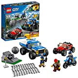 LEGO 60172 City Mountain Police Dirt Road Pursuit Pickup 4x4 Car with Net Shooter, Buggy and Motorbike Building Set