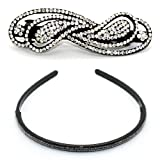 2 PIECE SET: Sparkling Diamante Metal Barrette / Hair Clip & Resin Headband