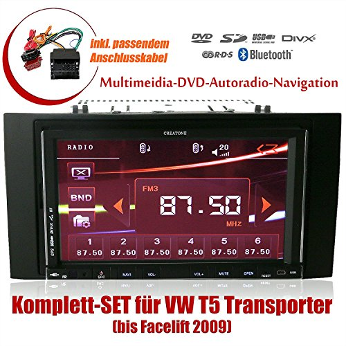 2DIN Autoradio CREATONE CTN-9268D56 für VW T5 Transporter (bis Facelift 2009) mit GPS Navigation, Bluetooth, Touchscreen, DVD-Player und USB/SD-Funktion