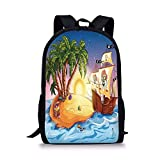xinyanghongda School Bags Pirate Ship,Ghost Ship on Exotic Sea Near Treasure Island with Palm Trees and Open Chest,Multicolor for Boys&Girls Mens Sport Daypack