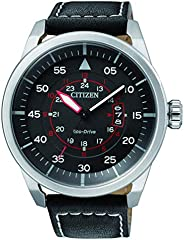 CITIZEN Mens Solar Powered Watch, Analog Display and Leather Strap - AW1360-04E