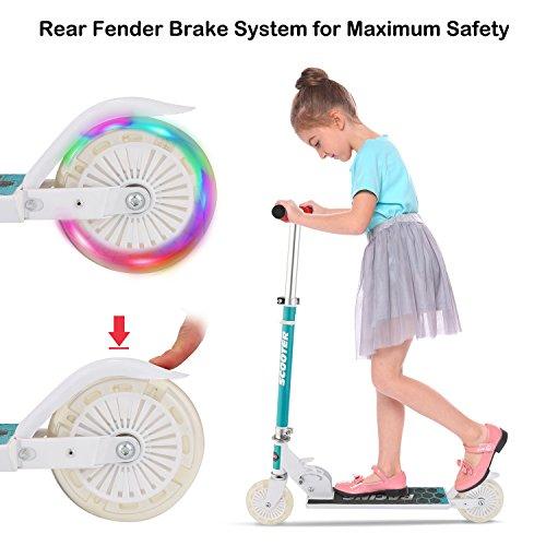 Bunao Cityroller Scooter Kinder Roller Tretroller Cityroller Kick Scooter klappbar mit LED Big Wheel Kugellager ABEC 7 für Mädchen Kinder ab 3 Jahre (Typ4)