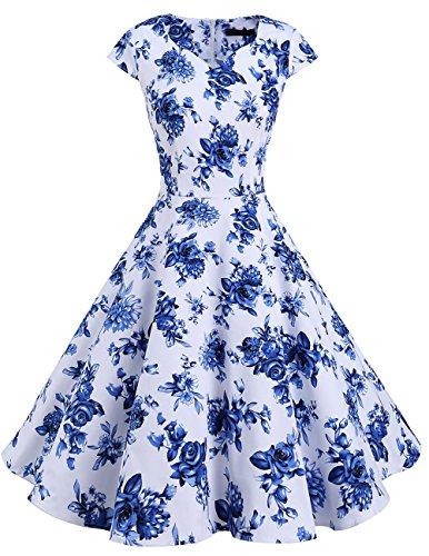 Dresstells Version 6.0 Vintage 1950's robe de soirée cocktail rétro style années 50 manches courtes White Blue Flower