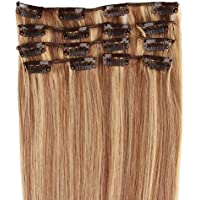 Beauty7 7 unidades 70g extensiones de clip de pelo natural pelucas cabello humano de color 8