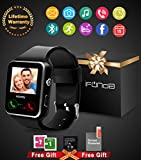 Bluetooth Smart Watch With Camera Touch Screen Smartwatch Unlocked Watch Cell Phone With Sim Card Slot Smart Wrist Watch Pedometer Fitness Tracker For Android Phones Samsung IOS Iphone 7 Plus 6S Iphone 8 Men Women Kids (X6-Black)