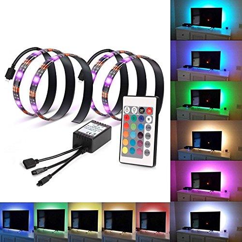 Kohree RGB Bias Beleuchtung TV Hintergrundbeleuchtung USB, TV Beleuchtung LED Streifen mit Fernbedienung, 2 Stück LED Lichtleiste Bunt für HDTV (lindern Ermüdung der Augen und erhöhen Bild Klarheit) (Pc-farbwechsel-led-streifen)