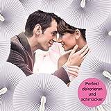 WeddingTree ® 60 x Handfächer Papier weiß faltbar - DIY- und Deko-Spaß für Groß und Klein - Gast-Geschenk Hochzeit Party Flamenco Bauch-Tanz - 5