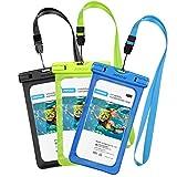 [3 Pezzi] Custodia Impermeabile Smartphone [Garanzia a Vita] Mpow IPX8 Borsa Impermeabile, Sacchetto Impermeabile Cellulare Dry Bag, Sacchetto di Smartphone Universale per iPhone 7/7 Plus, Galaxy /Google Pixel/LG/HTC