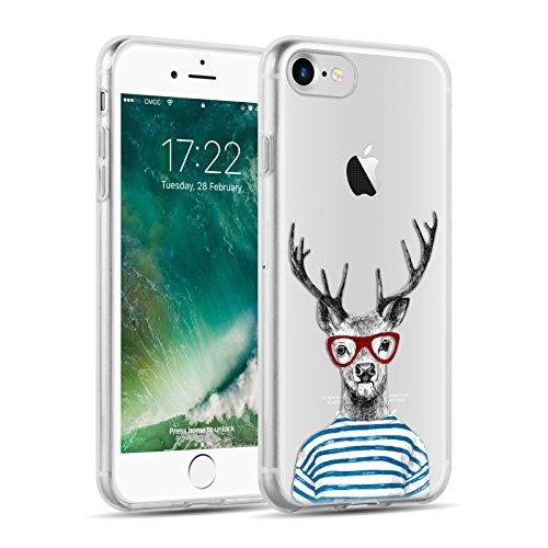 Cover iPhone 8 Cover iPhone 7, JAMMYLIZARD [Sketch] Custodia in Silicone Trasparente Semi Morbido Ultra Slim con Disegno per Apple iPhone 8 e Apple iPhone 7, ALICE SILHOUETTE CERVO HYPSTER