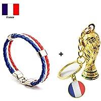 gaeruite 2018 Coupe du Monde Porte-clés, Coupe du Monde de Football Porte-clés Pendentif Accessoire, Coupe du Monde Cadeaux de Football Drapeau National Trophée Porte-clés