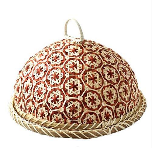 PORCN Handgemachtes Bambusnahrungsmittel-Frucht-Weidenrattan-Stroh-Korb-Brot mit Deckel-runder Platte-Küche-Speicher-Brot-Organisator-natürliche Gesundheit -