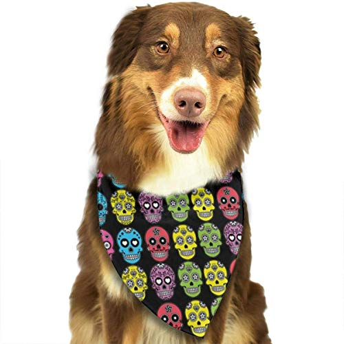 Rghkjlp Halloween Mexican Sugar Skull Dog Bandana Collars Triangle Neckerchief Puppy Bibs Scarfs Pet Scarfs Cats and Baby Scarf Towel
