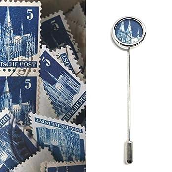 Revers Pin I Anstecknadel I Kölner Dom Briefmarke I Edelstahl I blau I Domschmuck I Geschenk für ihn