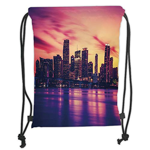Fashion Printed Drawstring Backpacks Bags,United States,View of Miami at Sunset Building Urban Modern City Life Ocean Skyline,Purple Pink Peach Soft Satin,5 Liter Capacity,Adjustable String Closur - Miami Peach