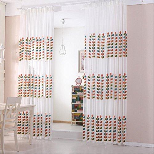 Rustikal Leinen Vorhänge (WERM® Tulle Vorhänge Bestickte Baum Design Fenster Screening Rustikal Fertig Vorhang Leinen Ttulle Vorhang Panel für Schlafzimmer Balkon Fenster 1 Stück , 2x2.7 (hook processing))