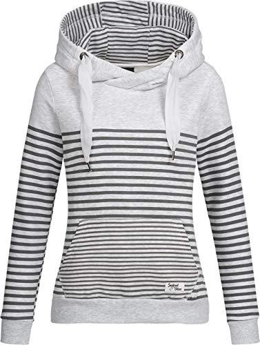 Sublevel Damen Sweatshirt Hoodie Kapuze LSL-287 Streifen Pastel Grey M