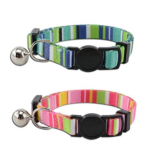 AllRight 2er Set Einstellbar Haustier Katzenhalsband Verstellbare Breakaway Kaze Halsband Halskette Robust Nylon, kleine Hunde -