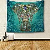 Wandteppich indisch Elefant, Wandtuch Indian Elephant Mandala Blume Muster mit psychedelic Hippie Stil, mehrfarbige Tapisserie Wandbehang aus Baumwolle (203 x 153 cm, Dunkelgrün Elefant)