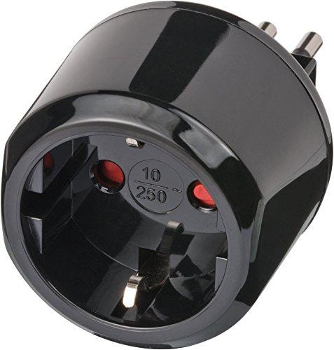 Brennenstuhl Reisestecker Adapter, Steckdosenadapter Reise (Für: Italien Steckdose und Euro Stecker) Farbe: schwarz