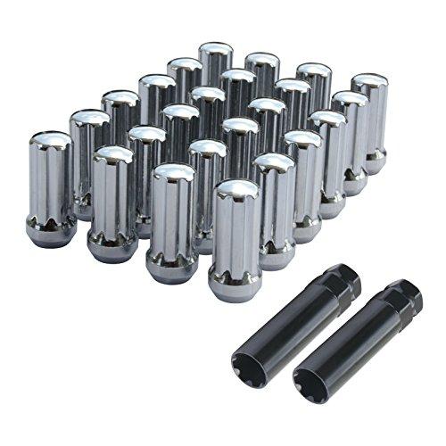 24 Stück gewölbte 7 Spline Stahlfelgenmuttern für 14 x 1,5 Gewindesteigung Chevy GMC Toyota Ram 5,1 cm hoch - Lug Nuts Chevy