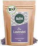Lavendelblüten - blau, ganz (Bio, 100g) - Beste Bio-Qualität - Für Lavendel-Tee, als Bad oder als Duft - im wiederverschließbaren Aroma-Frischebeutel