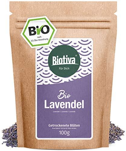 Bio-lavendel-bad (Lavendelblüten - blau, ganz (Bio, 100g) - Beste Bio-Qualität - Für Lavendel-Tee, als Bad oder als Duft - im wiederverschließbaren Aroma-Frischebeutel)