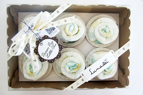Regalo Originale per Neonato |Box di 6 Cupcakes fatti con Pannolini DODOT | Baby Shower Gift Idea | Regalo per Battesimo |Bomboniera per Cerimonia | Color Neutro, UNISEX, Ideale per Femminucce o Maschietti