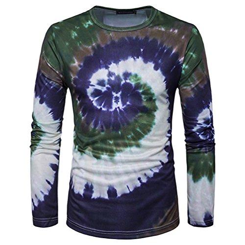 NiSeng Herren Allmähliche Veränderungen vortex 3D Printing casual Langarm T-Shirt GrünBraun