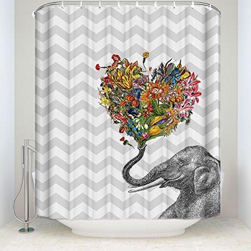 l Polyester-Duschvorhang Dekoration Elefant Blow Bubbles Badezimmer-Dusche Vorhänge Grau 48 x 72 inch Elephant with Heart Shaped ()