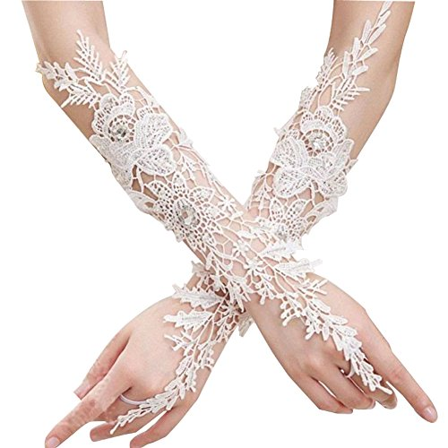 Gtopart Weisse Spitze Blumen Brauthandschuhe Fingerlose,Prinzessin Handschuhe Mädchen (Alter 6-15)