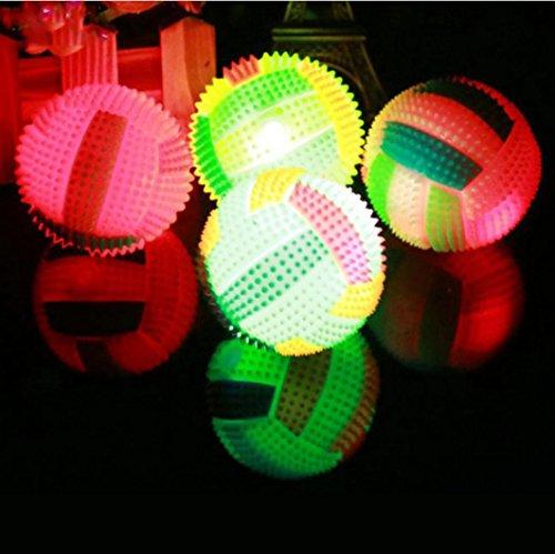 Upxiang Farbige LED Volleyball Bouncing Blinkende Ball Kinder Spielzeug Farbe Igel Ball Kinder Geschenk Stress Release Welpen Geschenk Lustiges Spielzeug (A:6.5*6.5*6.5cm)