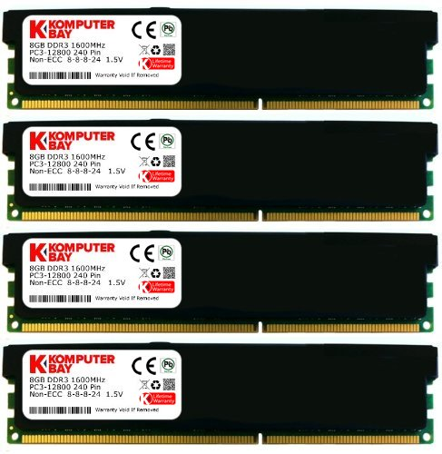 Komputerbay 16GB (4x4GB) DDR3 DIMM (240 pin) 1600Mhz PC3 12800 16 GB KIT Desktop-Speicher mit schwarzen Heatspreader für zusätzliche Kühlung CL 8-8-8-24 1.5V 8 Timing -