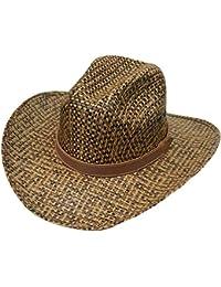 Modestone Unisex Straw Cowboy Hat Breezer Metal Concho Studs Hatband Brown 42ce79ae24b7