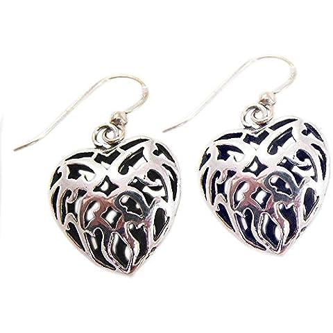 Orecchini moda per donne degli orecchini 925 a filigrana d'argento del cuore ciondola - Black Pearl Ciondola Gli Orecchini