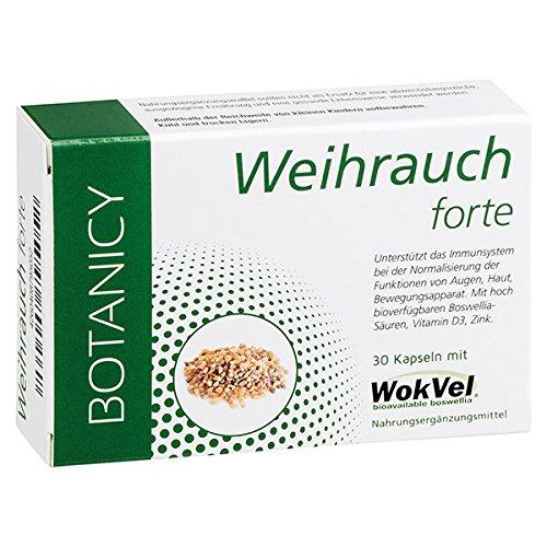 Weihrauch Forte mit patentiertem WokVel® Boswellia serrata, hochdosiert, Ayurveda, gegen Entzündungen, für Augen, Gelenke, Haut und Atemwege, verbesserte Bioverfügbarkeit, 30 Kapseln (Monatspack)