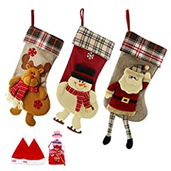 Idea Regalo - SueH Design Set 3 Pezzi Calza di Natale 48cm | 2 Cappelli di Babbo Natale e 1 Tasca per Caramelle Inclusa