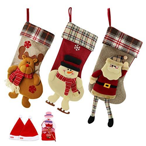 SueH Design Weihnachtsstrumpf 3er Set 48cm, enthältet Weihnachtsmann Davidshirsch Schneemann und Kostenloses Geschenk: 2 Weihnachtsmütze und 1 Geldbeutel