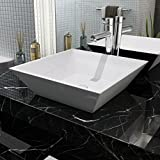 Festnight Lavabo Cuadrado - Color de Blanco Material de Cerámica, 41,5x41,5x12 cm