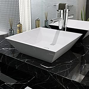 Festnight Lavabo Cuadrado – Color de Blanco Material de Cerámica, 41,5×41,5×12 cm