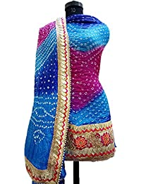 NS Creation Women's Art Silk Bandhini Gota Patti Daaman Border Suit With Same Work Border In Crep Bottom (SN-183...
