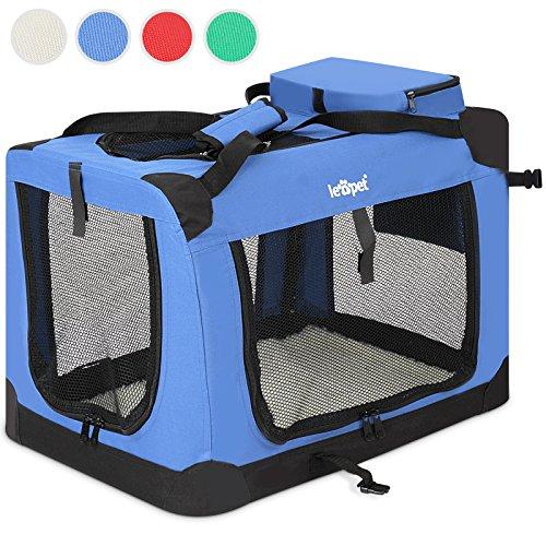 katzeninfo24.de Transportbox faltbar inklusive Polster Haustier-Transportbox Hundebox Auto Box Katzen in vier verschiedenen Farben & fünf Größen