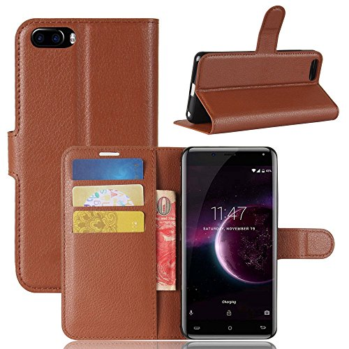Tasche für Cubot Magic Hülle, Ycloud PU Kunstleder Ledertasche Flip Cover Wallet Case Handyhülle mit Stand Function Credit Card Slots Bookstyle Purse Design braun